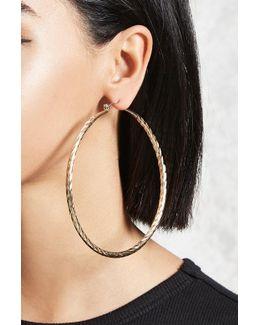 Textured Drop Hoop Earrings