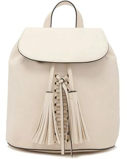 Tasseled Faux Leather Backpack
