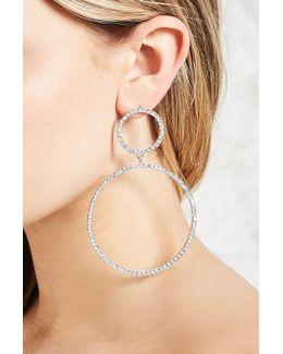 Rhinestone Hoop Drop Earrings