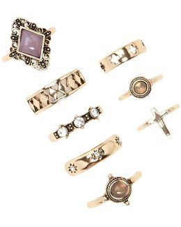 Etched Cross Ring Set