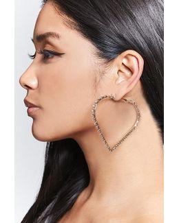 Rhinestone Heart Hoop Earrings