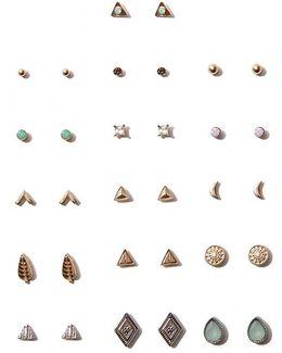 Etched Stud Earrings Set