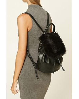 Faux Fur-paneled Backpack