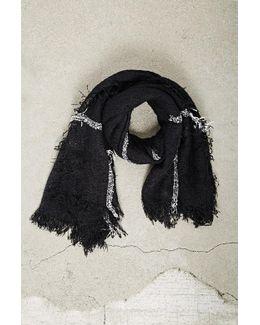 Men Plaid Open-knit Fringe Scarf