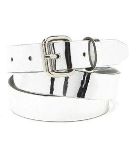 Reflective Faux Leather Belt