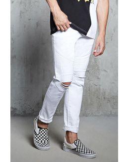 Slim-fit Ripped-knee Moto Jeans