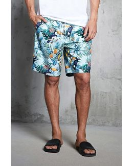 Tropical Print Swim Trunks