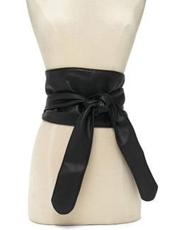 Faux Leather Wrap Belt
