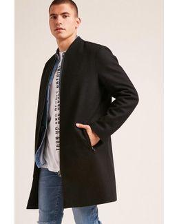 Zip-up Wool-blend Coat
