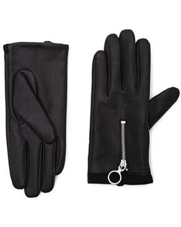 Zippered Faux Leather Gloves