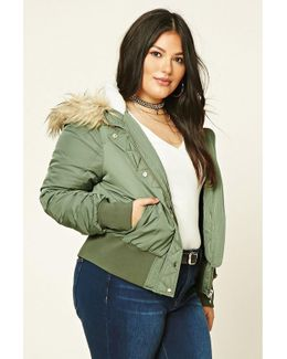 Plus Size Hooded Bomber