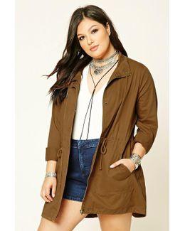 Plus Size Drawstring Jacket