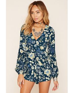 Pleated Floral Print Romper