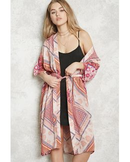 Belted Longline Floral Kimono