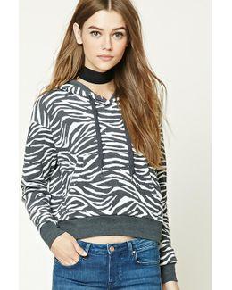 Zebra Print Fleece Hoodie