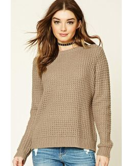 Boxy Waffle Knit Sweater