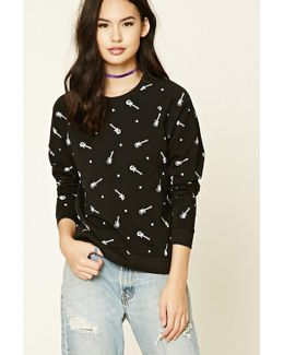 Guitar Print Sweatshirt