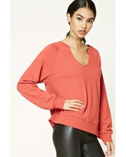 Split-neck Raglan Sweatshirt