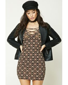 Ornate Lace-up Bodycon Dress