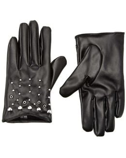 Faux Leather Stud Gloves