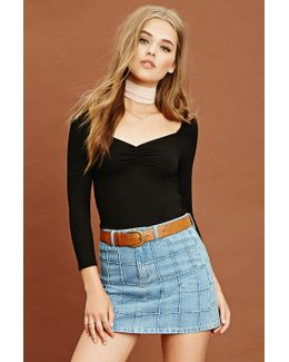 Ribbed Knit Ruched Top