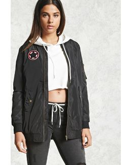 Patched Longline Bomber Jacket