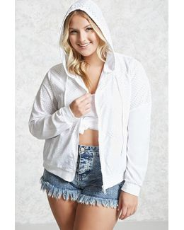 Plus Size Perforated Windbreaker