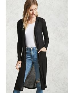 Ribbed Hooded Cardigan
