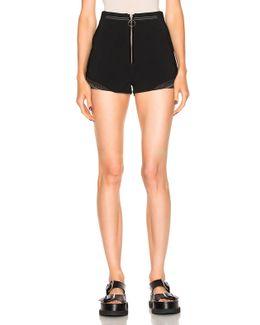 Shorts With Rib Insert And Stud Hem