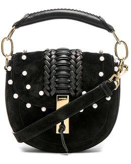 Ghianda Tubular Top Handle Mini Bag With Pearls In Black