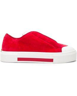 Velvet Platform Lace Up Sneakers