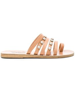 Leather Niki Pearls Sandals