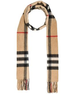 Giant Check Cashmere Scarf In Camel