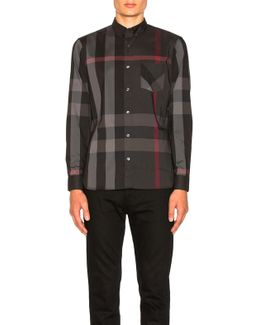 Herringbone Stretch Giant Check Shirt