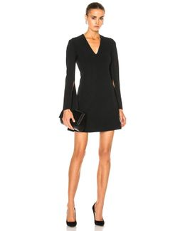 Kenner Piped V-neck Long Sleeve Dress