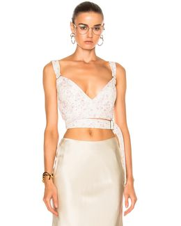 Linnetra L Faded Leather Floral Bouquet Bustier