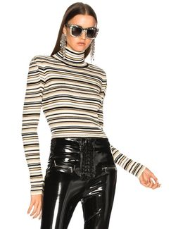 Striped Ribbed Knit Turtleneck Sweater