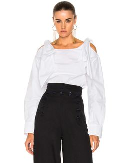Compact Cotton Ruffle Shoulder Blouse