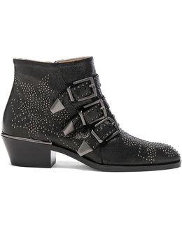 Susanna Metallic Leather Studded Booties