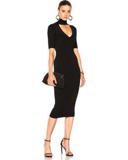 Cutout Turtleneck Pencil Dress