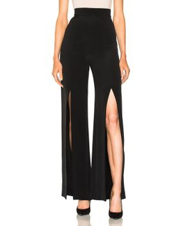 Crepe High Waisted Front Slit Pants