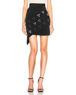 Asymmetric Metal Embroidered Skirt