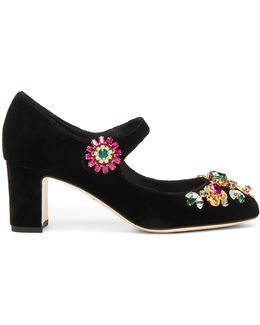 Jewel Embellished Velvet Maryjane Heels