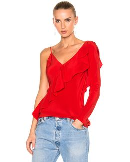 Asymmetrical Sleeve Ruffle Front Blouse Top
