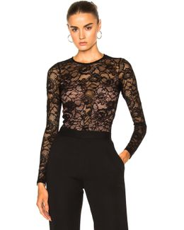 Chat Noir Long Sleeve Lace Bodysuit In Black
