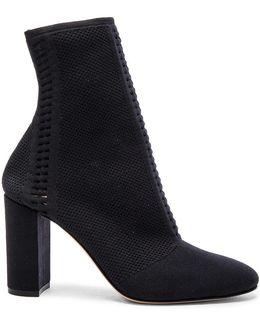 Knit Block Heel Booties In Black