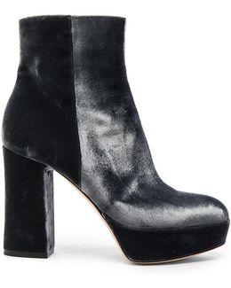Velvet Platform Booties In Grey