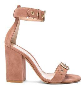 Suede Buckle Detail Heels