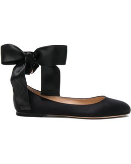 Satin Ankle Tie Flats