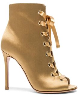 Satin Marie Lace Up Booties